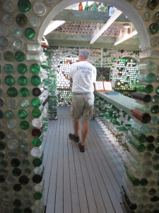 Ben in the largest bottle house.